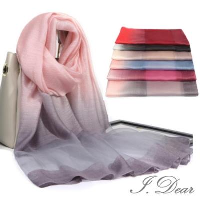 I.Dear-蠶絲混紡暈染漸層經典鑽石紋真絲圍巾披肩(5色)