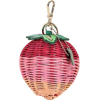 FURLA Ghiotta 草莓造型手工藤編鑰匙圈(粉色)
