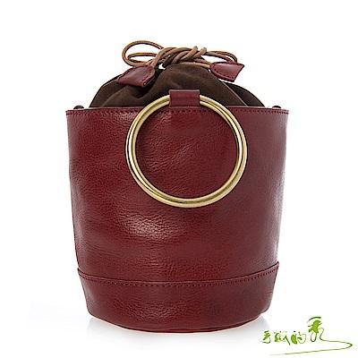 手感的秀 頂級植鞣元氣束口抽繩水桶二用包(3色)