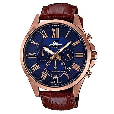EDIFICE超大表面設計羅馬時刻城市錶(EFV-500GL-2A)藍面x咖啡色錶帶/47