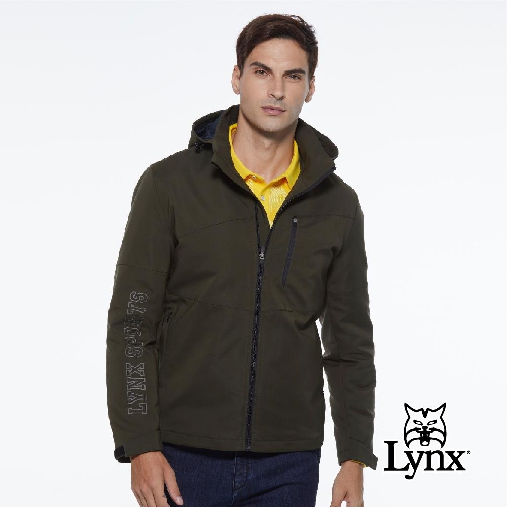 【Lynx Golf】男款防潑水防風保暖Lynx Sport繡花胸袋款連帽可拆式長袖羽絨外套-墨綠色