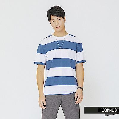 H:CONNECT 韓國品牌 男裝-清新配色條紋上衣-藍