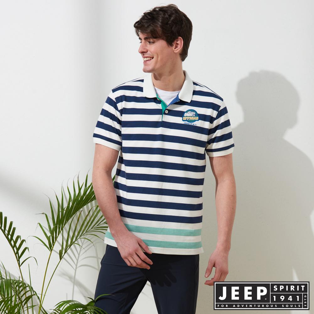 JEEP 美式冒險短袖POLO衫-藍色
