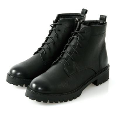 JMS-魔力擦色素面綁帶拉鍊短靴-黑色