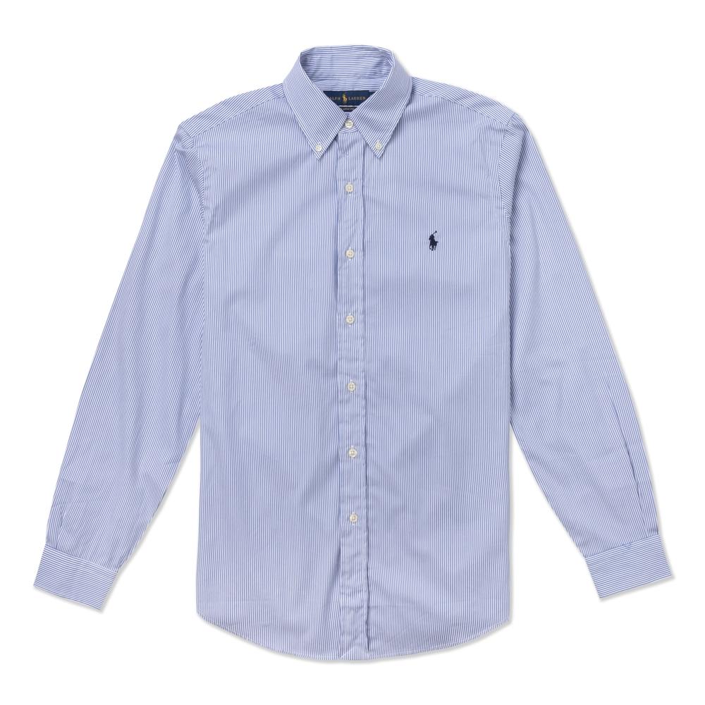 Polo Ralph Lauren 經典刺繡小馬長袖襯衫-藍白條紋色