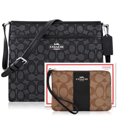 COACH 黑色大C織紋斜背包+咖啡黑色大C PVC手拿包