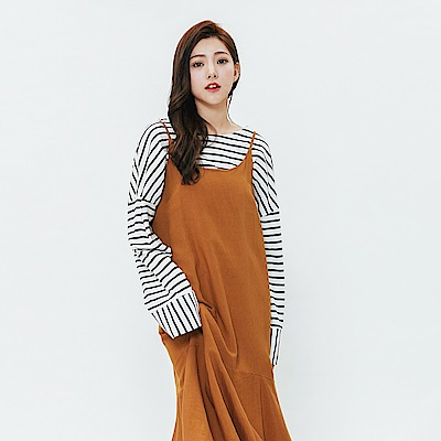 H:CONNECT 韓國品牌 女裝-魚尾細肩洋裝-棕