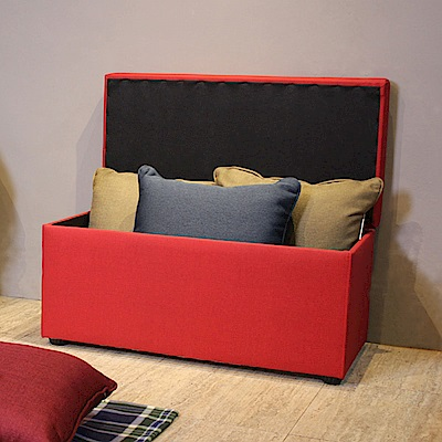 Asllie貝琪掀蓋收納長椅/腳凳/床前椅/沙發椅凳(貓抓皮)-紅色