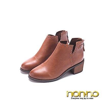 nonno 諾諾 皮製牛仔風粗跟短靴 駝