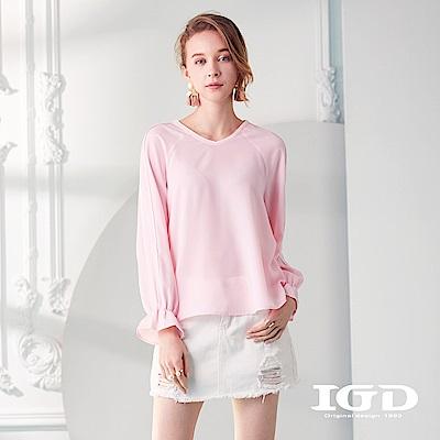 IGD英格麗 優雅粉嫩荷葉袖口上衣-粉色