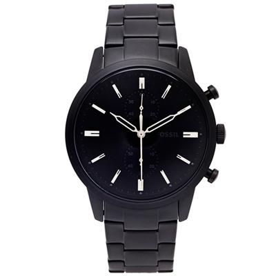FOSSIL 黑色時尚風計時的皮帶手錶(FS5502)-黑面X黑色/44mm