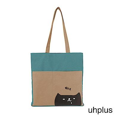 uhplus A4肩背包-喵日常 貪吃鬼(淺藍褐)