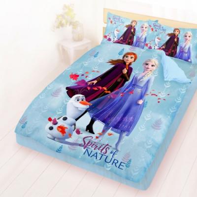 享夢城堡 雙人床包涼被四件組-冰雪奇緣FROZEN 秋日之森-藍