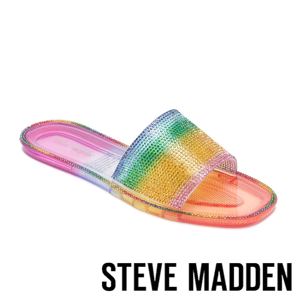 STEVE MADDEN-JACELYN 閃鑽平底拖鞋-彩虹