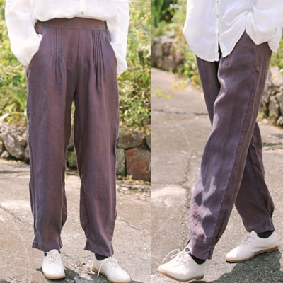 休閒褲-紅藍紗色織亞麻長褲寬鬆直筒棉麻-設計所在
