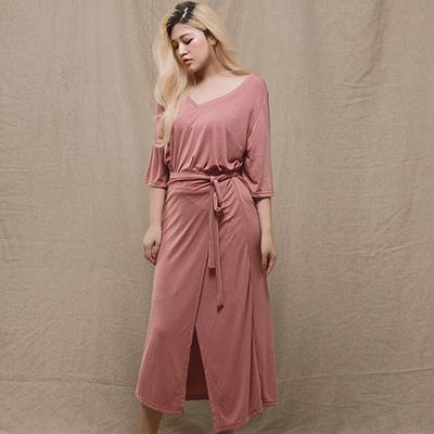 AIR SPACE LADY 中大尺碼 經典質感五分袖長洋裝(粉紅)