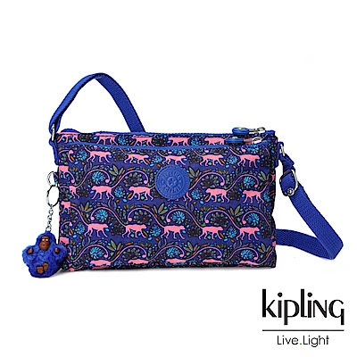 Kipling粉色猴子叢林印花側背包(小)