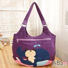 ABS貝斯貓 微笑貓咪騎鯨拼布包 手提包 肩提包(典雅紫)88-172