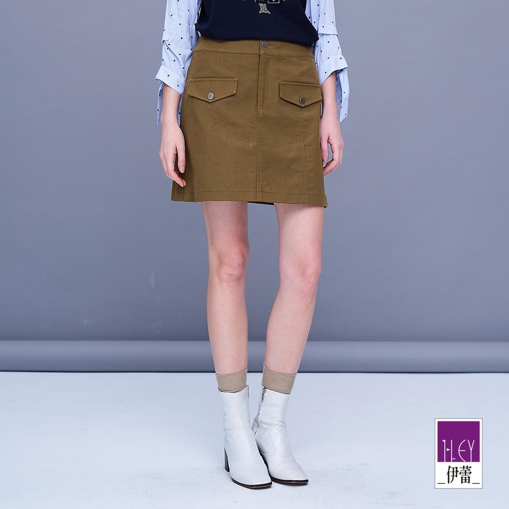 ILEY伊蕾 個性斜紋雙口袋褲裙(咖)