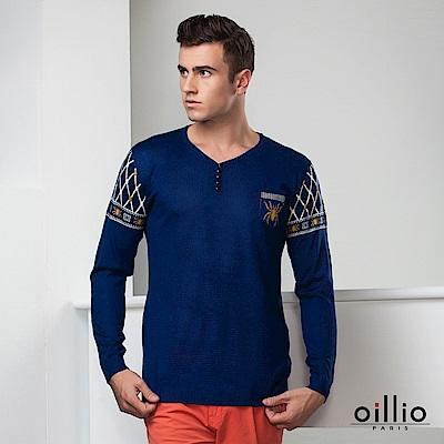 歐洲貴族oillio 長袖線衫 創意圖騰 V領款式 藍色
