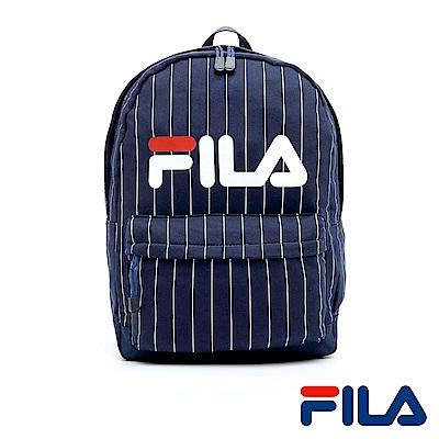 FILA經典LOGO條紋後背包(學院藍)