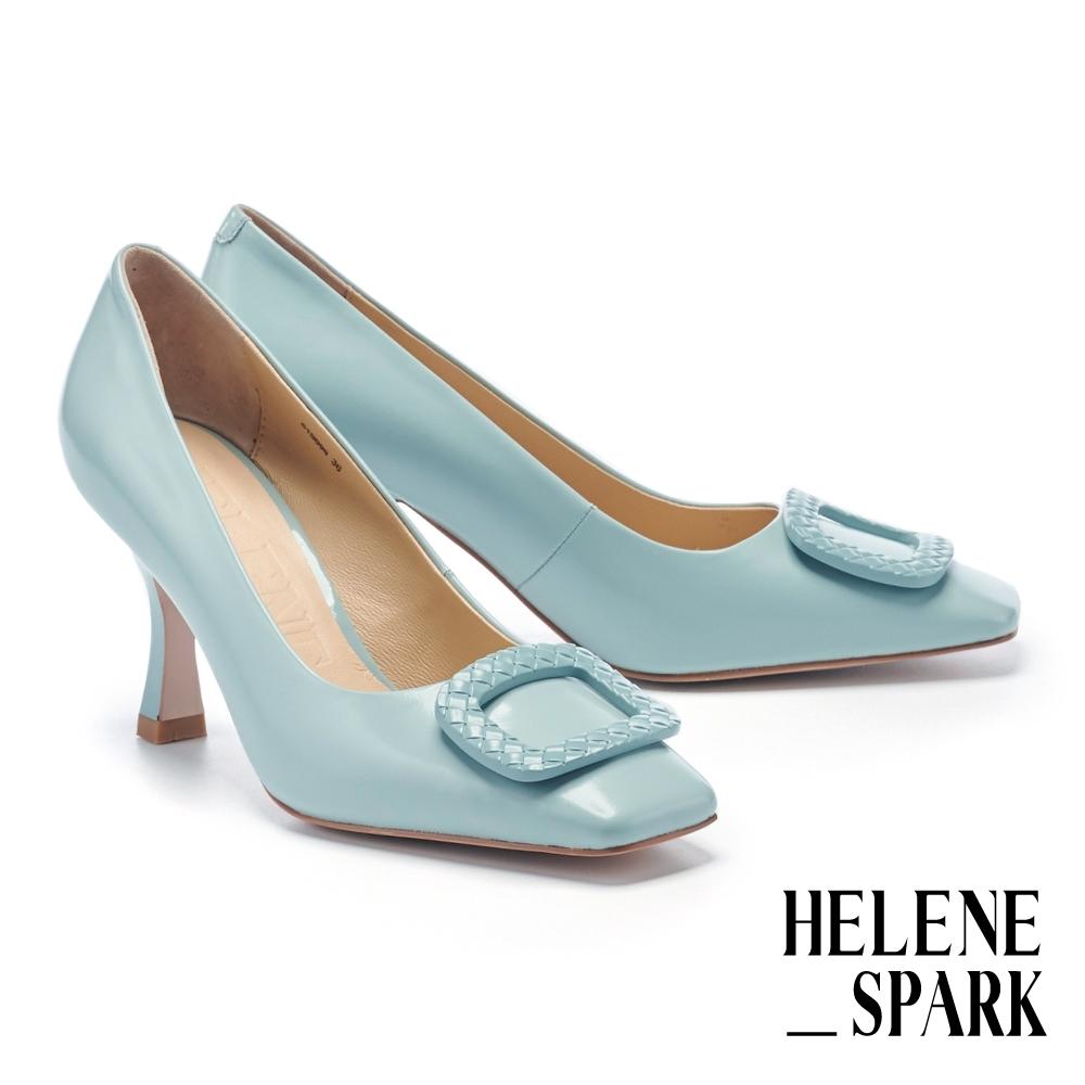 高跟鞋 HELENE SPARK 時髦復古純色壓紋釦牛皮方頭美型高跟鞋-藍