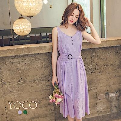 東京著衣-yoco 繡花布無袖腰帶洋裝-S.M.L(共二色)