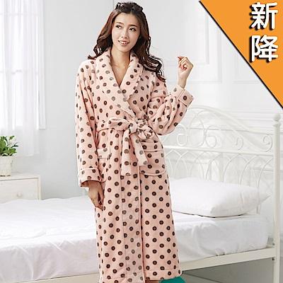 華歌爾睡衣-圓點細絨 M-L 長袖睡袍(粉橘)舒適簡單-家居服