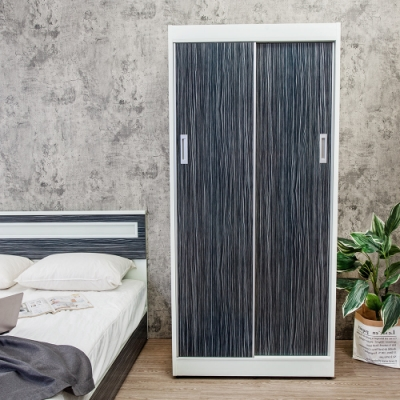 Birdie南亞塑鋼-3.2尺拉門/推門塑鋼衣櫃(鐵刀木色)-96x61x200cm
