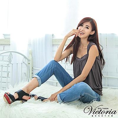 Victoria 配線袋蓋舒適男友褲-女-中藍
