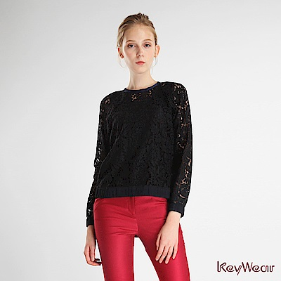 KeyWear奇威名品    復古典雅波浪花裝飾長袖上衣-黑色