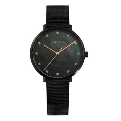 OBAKU 神秘閃耀貝殼面腕錶-黑(V186LXBBMB)/37mm