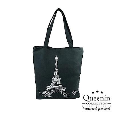 DF Queenin流行 - 百搭簡約休閒手提肩背帆布包 -共2色
