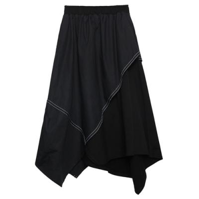 街頭風顯瘦百搭不規則高腰半身裙-F(共兩色)-CLORI