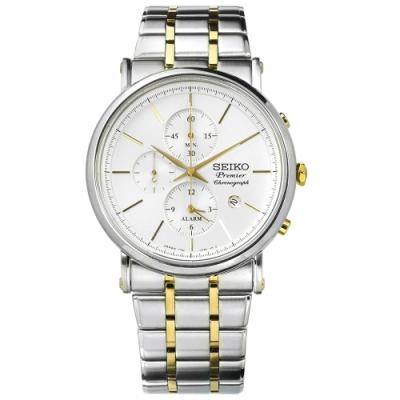 SEIKO 精工 Premier 輕薄藍寶石水晶計時防水不鏽鋼手錶-銀x鍍金/41mm