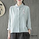 文藝純色刺繡襯衫-共3色(M/L可選)    初色