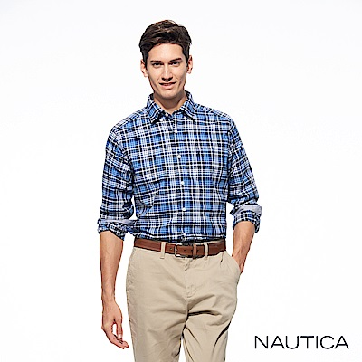 Nautica經典雙色格紋長袖襯衫-深藍格
