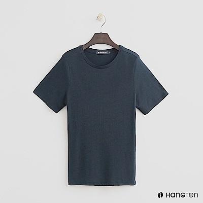 Hang Ten - 女裝 - 合身圓領素面T恤 - 藍