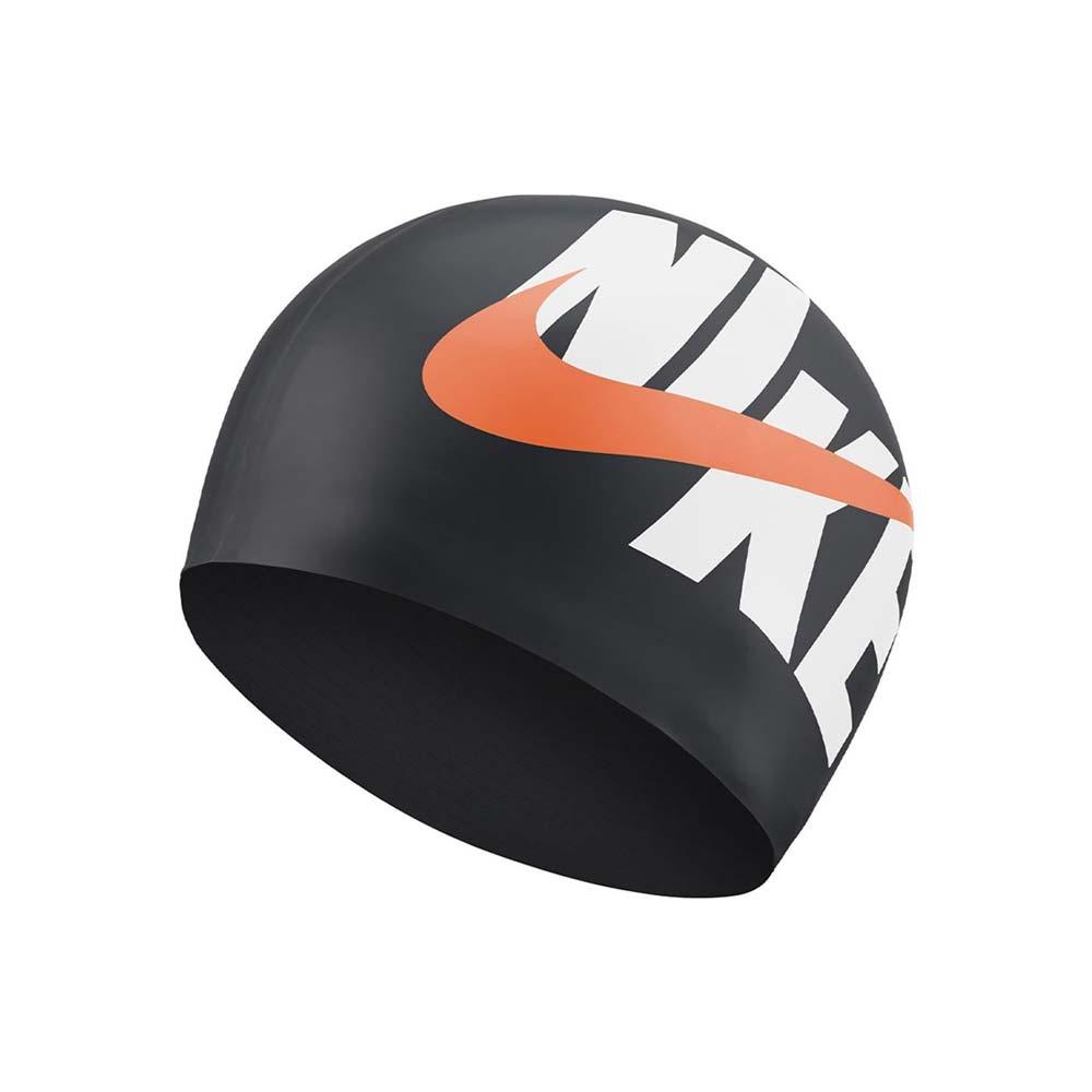 NIKE SWIM 成人矽膠泳帽-游泳 戲水 海邊 沙灘 NESSA203-001 黑白橘