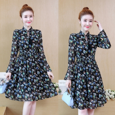 【韓國K.W.】(預購)法式古典名媛雪紡洋裝