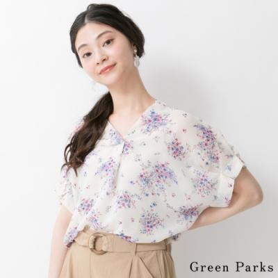 Green Parks 微透印花圖案V領襯衫上衣