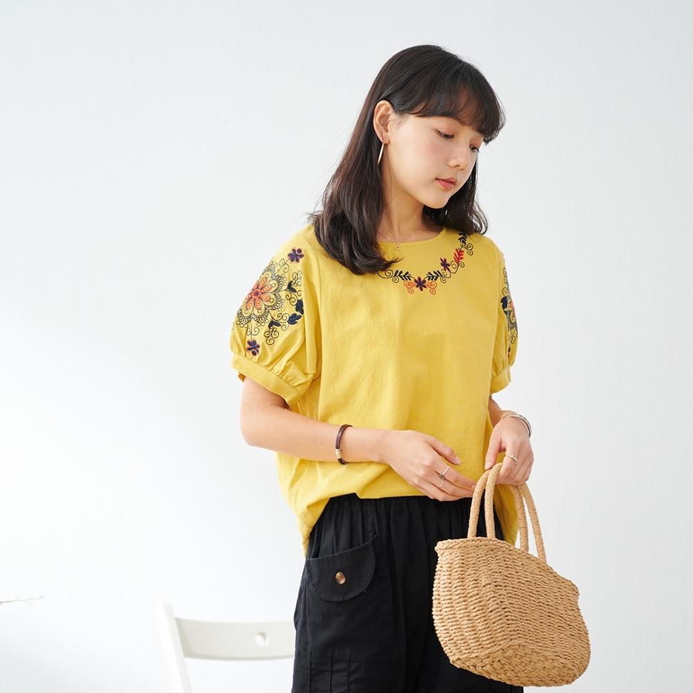 慢 生活 對稱花朵刺繡皺面棉料上衣- 黃色