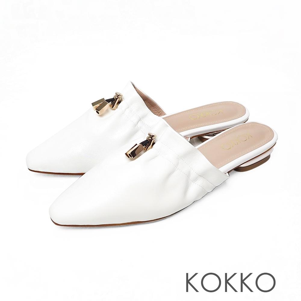 KOKKO柔軟感羊皮方頭雲朵穆勒鞋椰奶白