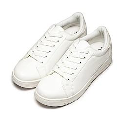 BuyGlasses 無印全素面皮面綁帶鞋-白