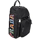 PRADA Montagna 品牌彩色字母標誌尼龍後背包(黑色)