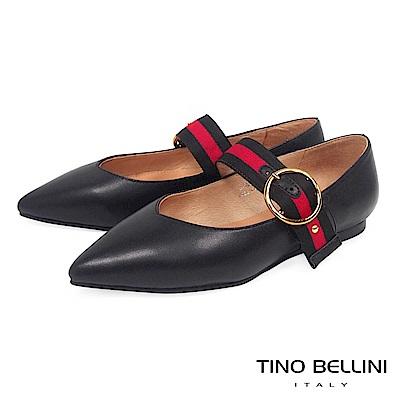 Tino Bellini 文藝復古氣質釦帶瑪麗珍鞋 _ 黑