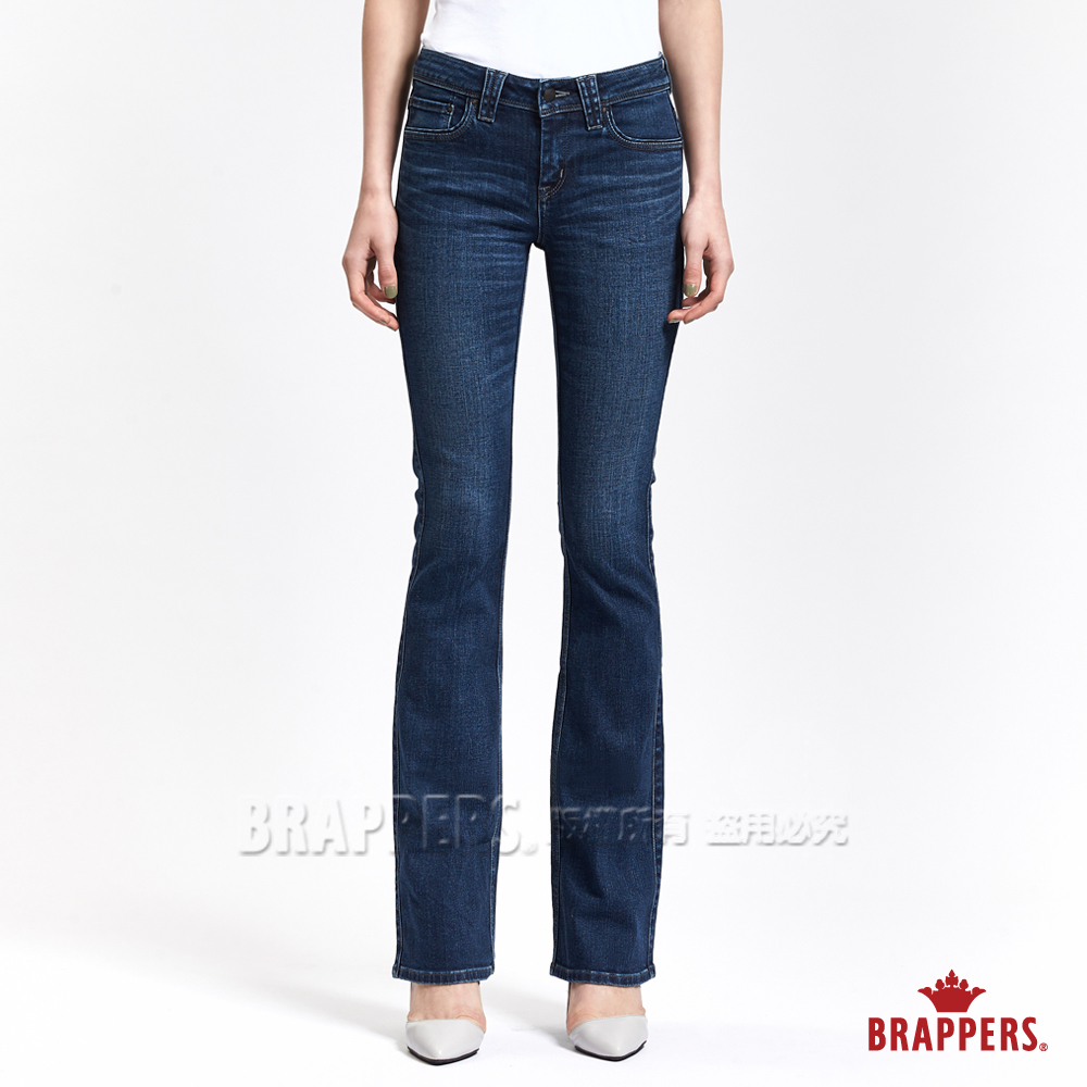 BRAPPERS 女款 新美腳 系列-女用彈性W刺繡鑲鑽喇叭褲-深藍