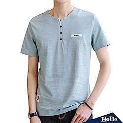 造型鈕扣小V領短袖T恤上衣 三色-HeHa