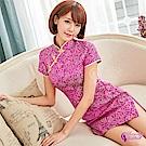 Sexy Cynthia角色扮演 紫紅古典美人立領短袖旗袍角色扮演服-紫F
