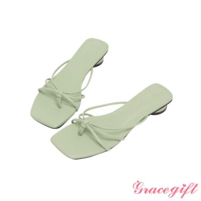 Grace gift-細帶夾腳圓低跟涼拖鞋 綠